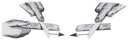 Aiguisage qui permet de rénover le fil d'un couteau qui ne coupe plus, sur une pierre à eau.